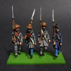 Infantería, con levita y sombrero